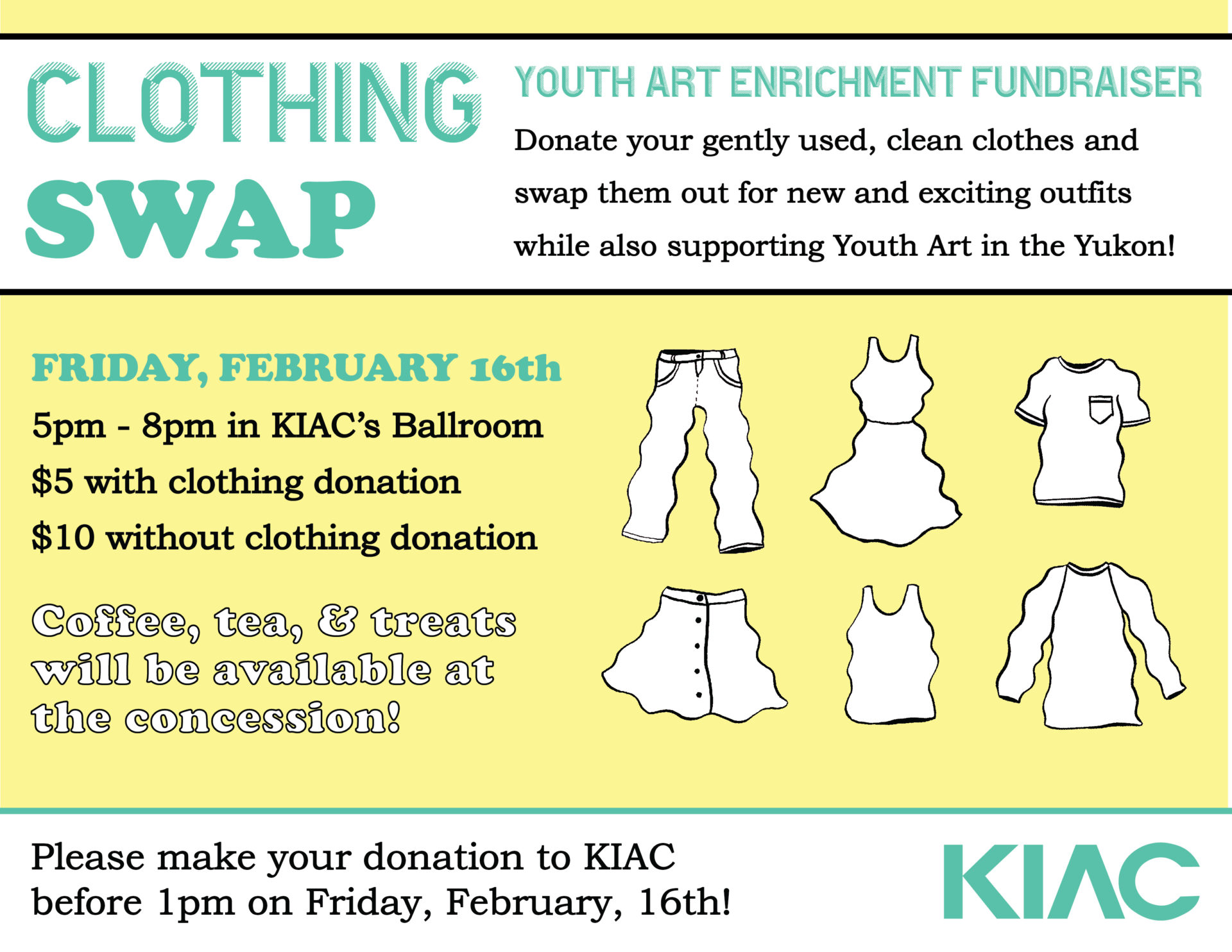 Clothing Swap! Feb 16th! A Youth Art Enrichment Fundraiser